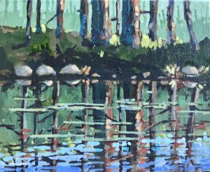 Cypress Reflections 8 x 10, acrylic on canvas - sold