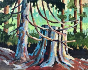 Cypress Friends 8 x 10, acrylic on canvas - sold
