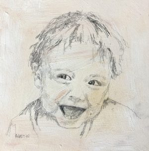 Young man 6 6 x 6, graphite on cradled panel - sold