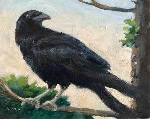 The Crow 8 x 10, oil on cradled panel