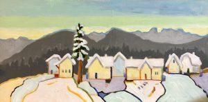 Mountain Community 8 x 16, acrylic on cradled panel