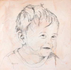 Young Man 7 6 x 6, graphite on cradled panel - sold