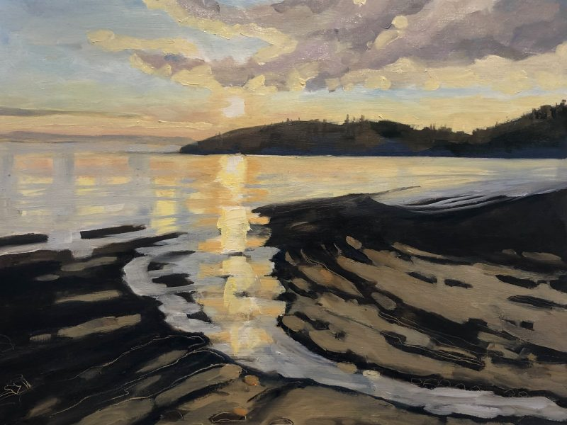 """<span class=""""entry-title-primary"""">Stearman Beach Glow – Sold</span> <span class=""""entry-subtitle"""">11 x 14, oil on cradled panel</span>"""