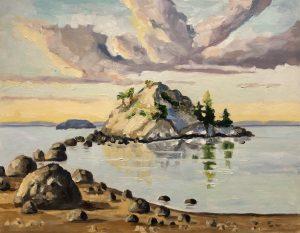 Whytecliff Beach Stillness – sold 11 x14, oil on cradled panel