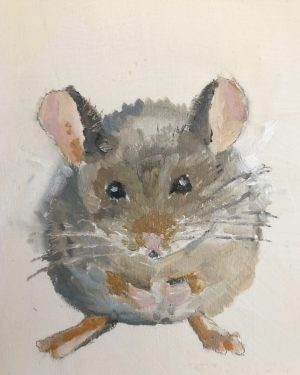 Not even a mouse… 4 x 4, oil on panel