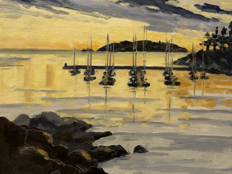 """<span class=""""entry-title-primary"""">Eagle Harbour Stillness</span> <span class=""""entry-subtitle"""">10 x 10, oil on canvas</span>"""