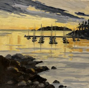 Eagle Harbour Stillness – SOLD 10 x 10, oil on canvas