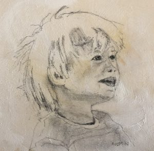 Young man 9 – Sold 6 x 6, graphite on board