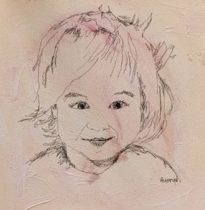 Young Lady 6 – SOLD 6 x 6, graphite on board