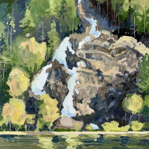 Granite Falls 10 x 10, oil on cradled panel