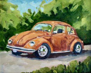 Orange VW Bug 8 x 10, oil on board