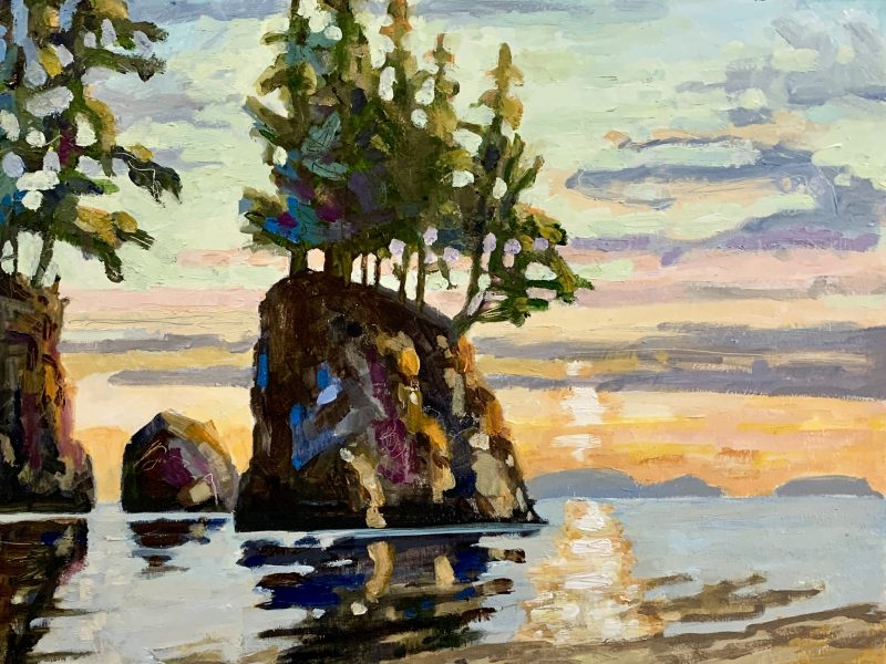 """<span class=""""entry-title-primary"""">West Coast Sea Stack</span> <span class=""""entry-subtitle"""">12 x 12, oil on cradled panel</span>"""